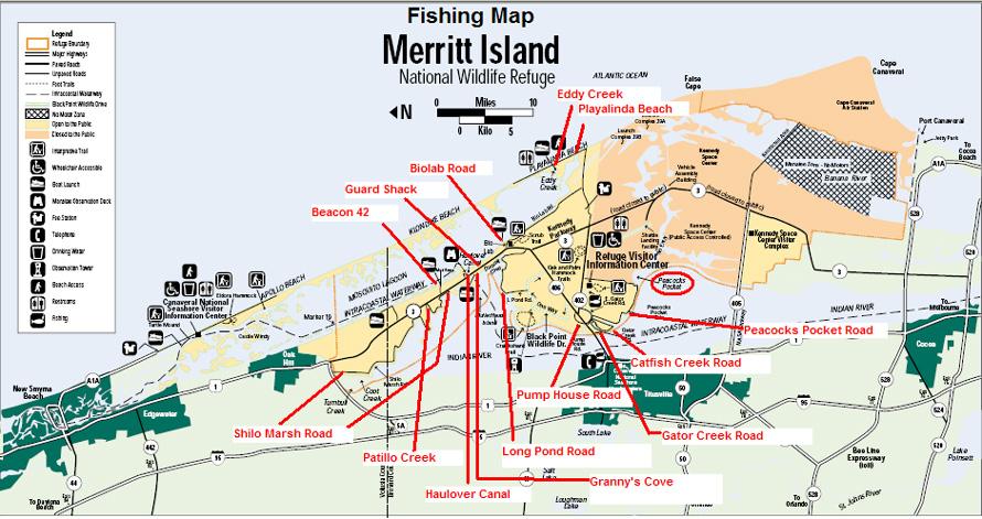 Map Of Merritt Island Florida.Fishing Map Of Merritt Island National Wildlife Refuge